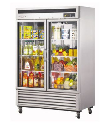 "Turbo Air MSR-49G-2 54"" Two Section Reach-In Refrigerator, Glass Door, 115v"