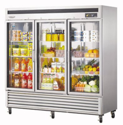 Turbo Air MSR-72G-3 Glass Door Refrigerator w/ Stainless Interior, 72-cu ft