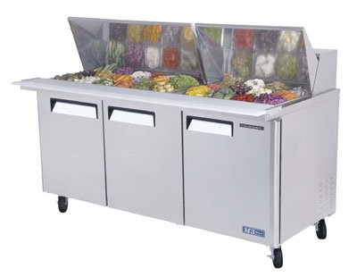 "Turbo Air MST-72-30 72.62"" Sandwich/Salad Prep Table w/ Refrigerated Base, 115v"