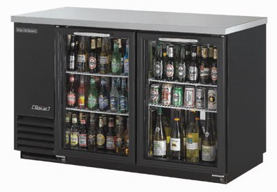 Turbo Air TBB-2SG 58-in Back Bar Cooler w/ 2-Glass Doors, 37-in H, Black/Stainless