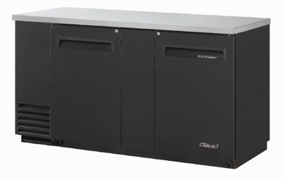 Turbo Air TBB-3SB 69-in Back Bar Cooler w/ 2-Solid Doors & Locks, Black/Stainless
