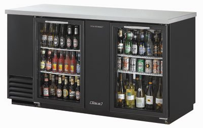 Turbo Air TBB-3SG 69-in Backbar Cooler w/ 2-Glass Doors, 37-in H, Black/Stainless