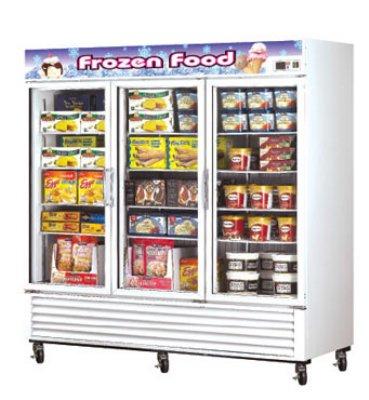 Turbo Air TGF-72F Three-Section Freezer Merchandiser w/ Glass Doors, 72-cu ft