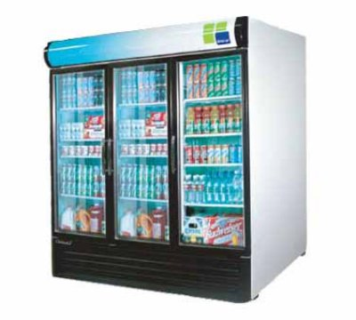 "Turbo Air TGM-72RS 78"" Three-Section Refrigerated Display w/ Swing Doors, Bottom Mount Compressor, 115v"