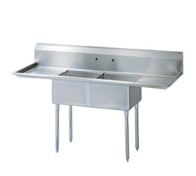 Turbo Air TSA-2-14-D2 Sink, (2) 18 x 18 x 14-in D w/ 24-in L & R Drainboard, Stainless