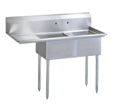 Turbo Air TSA-2-L1 Sink, (2) 18 x 18 x 11-in Deep w/ 24-in L Drainboard, Stainless
