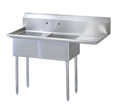 Turbo Air TSA-2-R1 Sink, (2) 18 x 18 x 11-in Deep w/ 18-in R Drainboard, Stainless