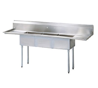 Turbo Air TSA-3-12-D1 Sink, (3) 18 x 18 x 12-in D w/ 18-in L & R Drainboard, Stainless