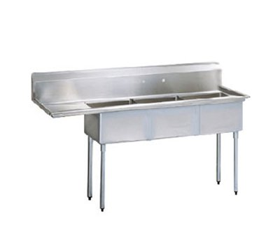 Turbo Air TSA-3-12-L1 Sink, (3) 18 x 18 x 12-in Deep w/ 18-in L Drainboard, Stainless