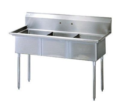 Turbo Air TSB-3-N Sink, (3) 24 x 24 x 14-in Deep w/ 11-in Splash, Stainless