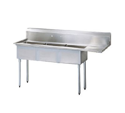 Turbo Air TSB-3-R2 Sink, (3) 24 x 24 x 14-in Deep w/ 24-in R Drainboard, Stainless