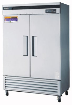 "Turbo Air TSR49SD 54"" Two Section Reach-In Refrigerator, (2) Solid Door, 115v"