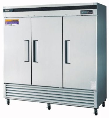 Turbo Air TSF-72SD Reach In Freezer w/ 3-Solid Door, All Stainless, 72-cu ft
