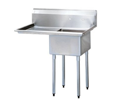 Turbo Air TSA-1-14-L2 Sink, (1) 18 x 18 x 14-in Deep w/ 24-in L Drainboard, Stainless