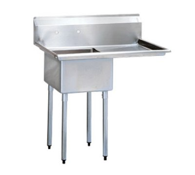 Turbo Air TSA-1-14-R2 Sink, (1) 18 x 18 x 14-in Deep w/ 24-in R Drainboard, Stainless