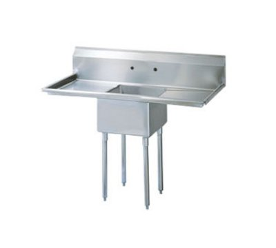 Turbo Air TSB-1-D2 Sink, (1) 24 x 24 x 14-in Deep, 24-in L & R Drainboard, Stainless