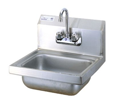 Turbo Air TSS-1-H Wall Mount Hand Sink w/ 4-in Faucet, 10 x 14 x 6-in D, Stainless