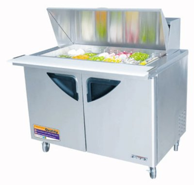 Turbo Air TST-48SD-18 Sandwich / Salad Unit w/ 2-Door, For 18-Pan, Stainless, 14.7-cuft