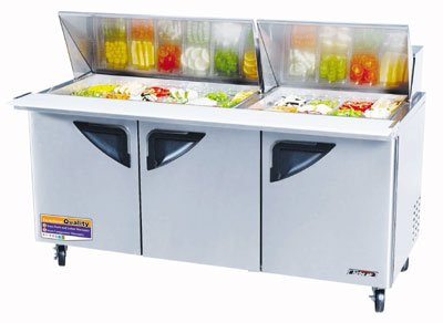 "Turbo Air TST-72SD-30 72.62"" Sandwich/Salad Prep Table w/ Refrigerated Base, 115v"