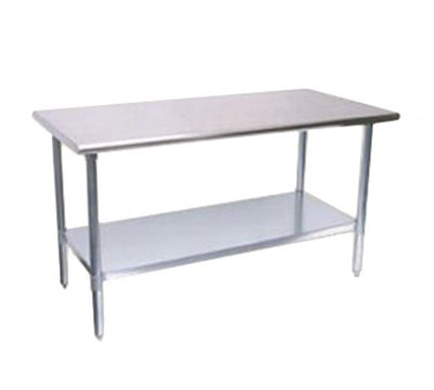 Turbo Air TSW-2496E 96-in Work Table, 18/430 Stainless Top, Galvanized Shelf, 24-in W