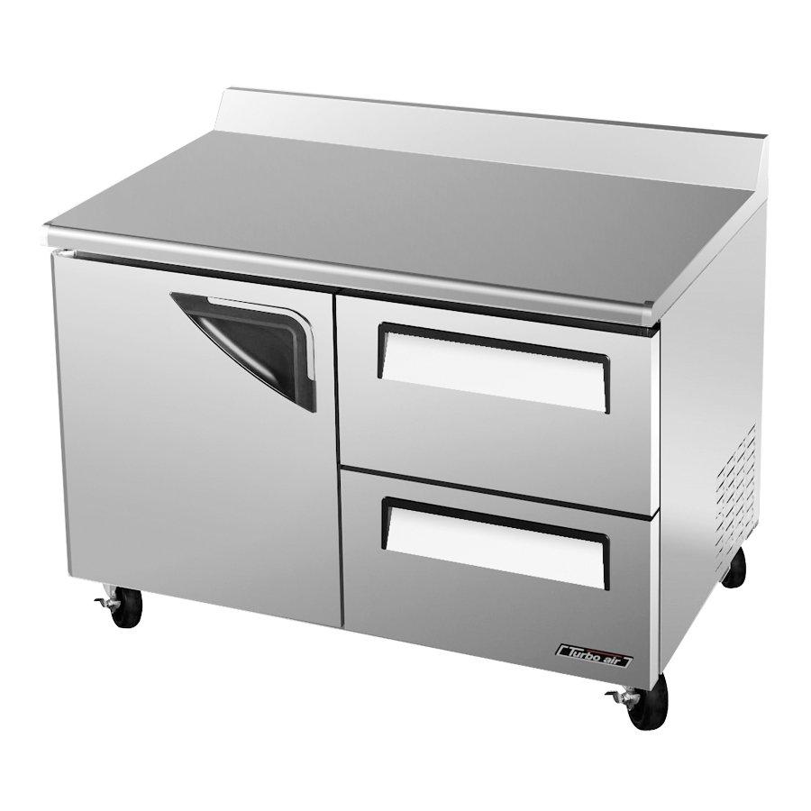 Turbo Air TWF-48SD-D2 2-Section Worktop Freezer w/ Door & 2-Drawers, 12-cu ft, Rear Mount