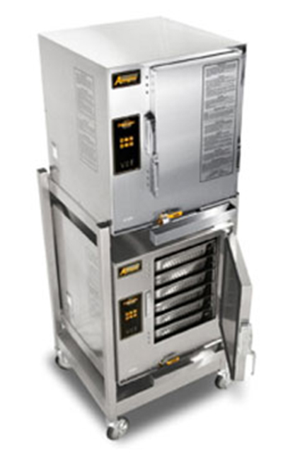 Accutemp E62083D080DBL 2-Boilerless Convection Steamers w/ Stand & 12-Pan Capacity, 8kw, 208/3