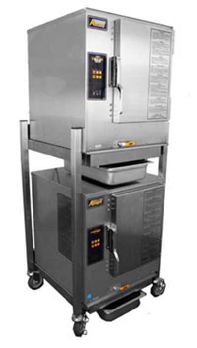 Accutemp N61201D060DBL 2-Boilerless Convection Steamer w/ Stand & 12-Pan Capacity, 60000-BTU, NG
