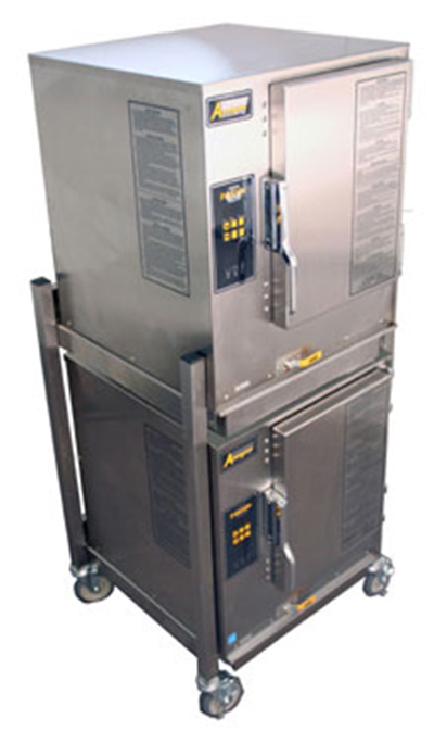 Accutemp P61201E060DBL 2-Boilerless Convection Steamer, Stand, Water Connection Required, 60000-BTU, LP