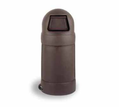 Continental Commercial 1305 BN 18-Gal Round Top Trash Can w/ Bag Holder & Tie Down, B