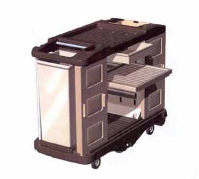Continental Commercial 1585 BE/BN 64-in Deluxe Lodging Cart w/ Shelf, Aluminum Handles, Beige/Brown