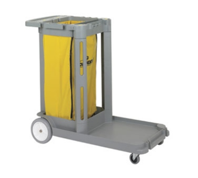 Continental Commercial 182 GY Janitorial Cart, Holds Cleaning Items & Waste