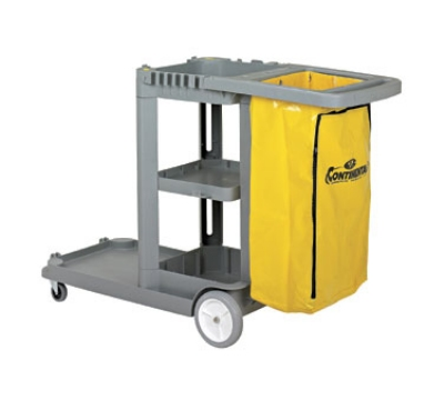 Continental Commercial 184 GY Janitor Cart w/ 25-Gal Zippered Bag, For 26 or 35-Qt Bucket, Grey