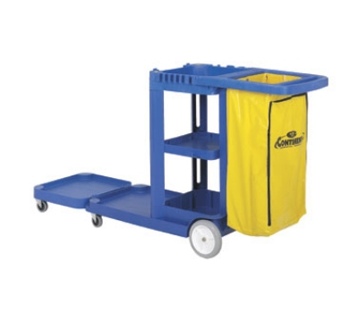 Continental Commercial 186 BL Convertible Janitor Cart w/ 25-Gal Zippered Bag, Blue