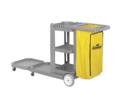 Continental Commercial 186GY-HB Janitor Cart w/ 25-Gal w/ Zippered Bag, 73 x 30 x 38-in, Grey