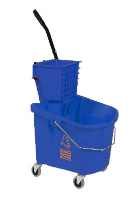 Continental Commercial 226-312 BL 26-Qt Oval Mop Bucket w/ Squeeze Wringer, Caution Symbol, Blue