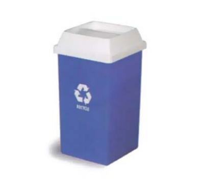 Continental Commercial 25-1 25-Gal Recycle Logo Trash Can, Swingline, Square, Blue &