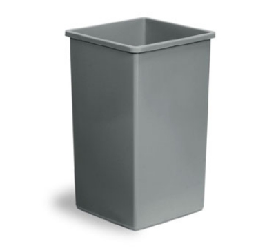Continental Commercial 25GY 25-Gal Square Trash Can, 5735 Series, Grey