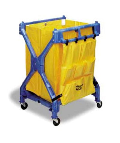 "Continental Commercial 275 Folding Cart - 37.75x28x26.25"", Vinyl Bad, (2)23-gal Waste Basket Capacity, Blue"