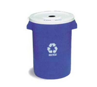 Continental Commercial 3200-1 Round Recycling Container w/ 32-Gallon Capacity, Blue, White Logo