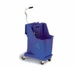 Continental Commercial 351 BL 35-Qt Unibody Mop Bucket w/ Wringer, Caution Symbol, Blue