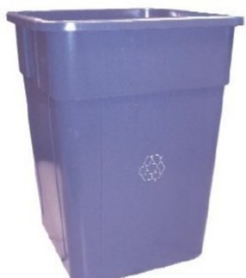 Continental Commercial 5555-1 Square Recycling Container w/ 55-Gallon Capacity, Blue