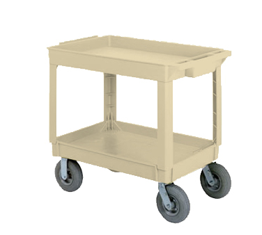 Continental Commercial 5805BE-PN Large Utility Cart w/ 2-Shelves, 400-lbs, Pneumatic Casters, Beige