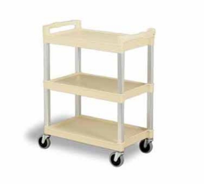 Continental Commercial 5810BE Bussing Cart w/ 3-Shelves, Open-Design, 200-lb Capacity, Beige