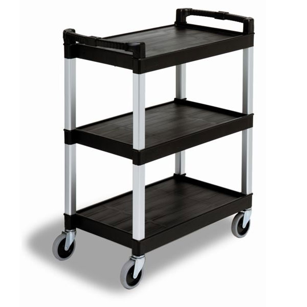Continental Commercial 5810BK Bussing Cart w/ 3-Shelves, Open-Design, 200-lb Capacity, Black