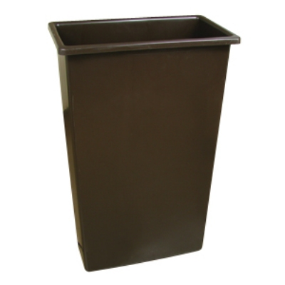 Continental Commercial 8322 BN 23-Gal Wall Hugger Trash Can, Brown