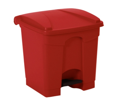 Continental Commercial 8RD 8-Gal Step On Trash Can w/ Built In Hooks, Red