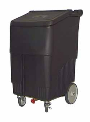 Continental Commercial 9720 BK Mobile Ice Bin w/ 200-lbs Capacity, 1-Locking Caster, Black