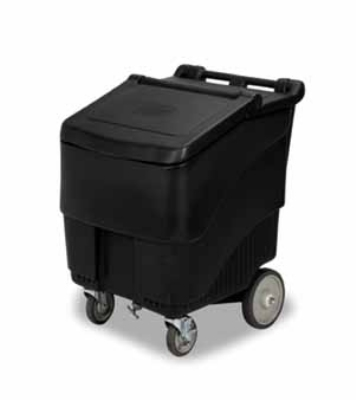 Continental Commercial 9725 BK Mobile Ice Bin w/ 125-lbs Capacity, 1-Locking Caster, Black