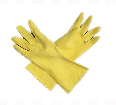 San Jamar 620-XL Yellow Latex Flock Lined Glove, X-Large