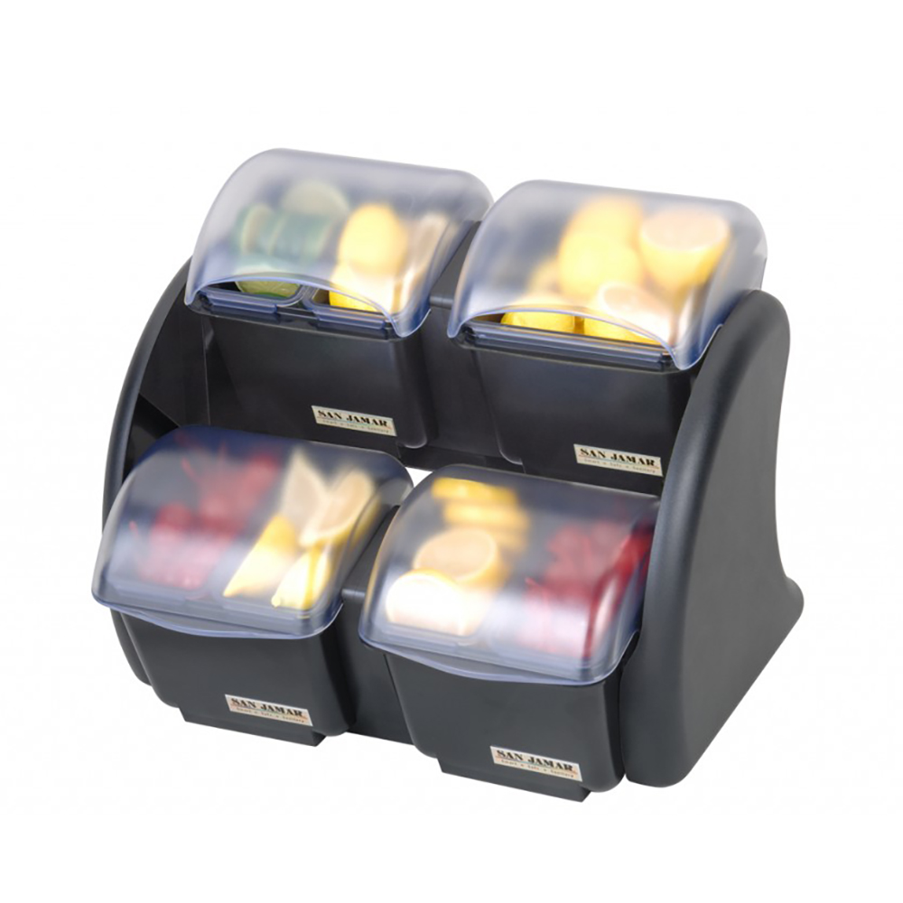 San Jamar BDS2483NL Mini Dome Stacker (2/2) w/ 4-Compartments, 5-qt Capacity